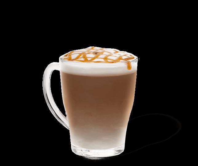Starbucks® Caramel Macchiato in einer transparenten Tasse