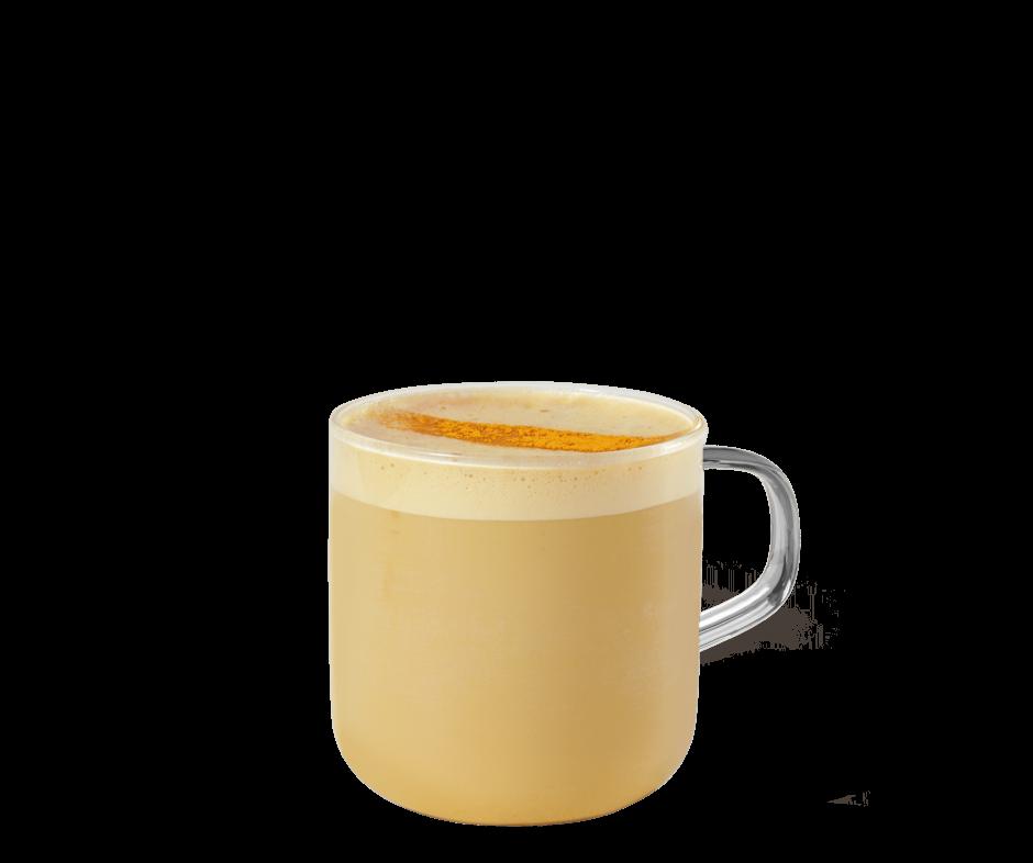 Golden Turmeric Latte Kaffee im transparenten Becher